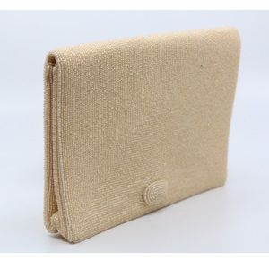 JAPANESE Hand Beaded Clutch in Champagne